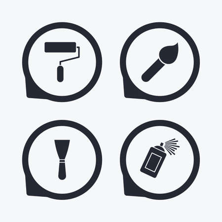 Paint roller, brush icons. Spray can and Spatula signs. Wall repair tool and painting symbol. Flat icon pointers. Çizim