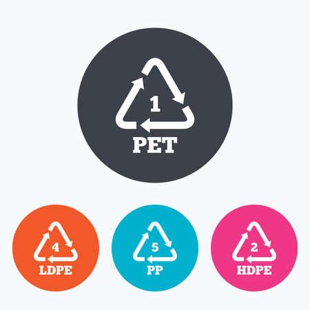 PET 1, Ld-pe 4, 5 PP en Hd-pe 2 iconen. High-density polyethyleen tereftalaat teken. Recycling symbool. Cirkel flat knoppen met het pictogram.