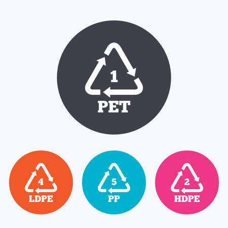 pp: PET 1, Ld-pe 4, PP 5 and Hd-pe 2 icons. High-density Polyethylene terephthalate sign. Recycling symbol. Circle flat buttons with icon.