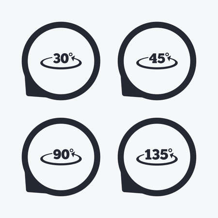 Angle 30-135 degrees icons. Geometry math signs symbols. Full complete rotation arrow. Flat icon pointers.