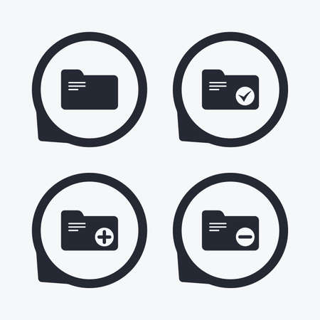 bookkeeping: Accounting binders icons. Add or remove document folder symbol. Bookkeeping management with checkbox. Flat icon pointers. Illustration