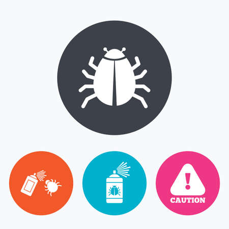 insanitary: Bug disinfection icons. Caution attention symbol. Insect fumigation spray sign. Circle flat buttons with icon.