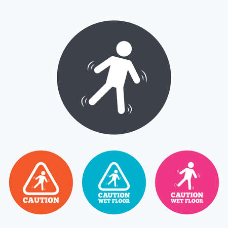 wet floor caution sign: Caution wet floor icons. Human falling triangle symbol. Slippery surface sign. Circle flat buttons with icon.