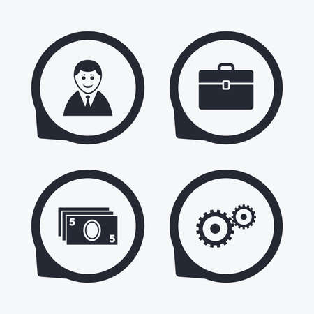 cash money: Businessman icons. Human silhouette and cash money signs. Case and gear symbols. Flat icon pointers.