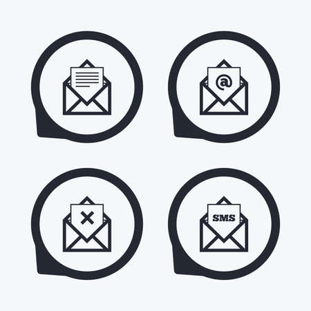 webmail: Mail envelope icons. Message document symbols. Post office letter signs. Delete mail and SMS message. Flat icon pointers.