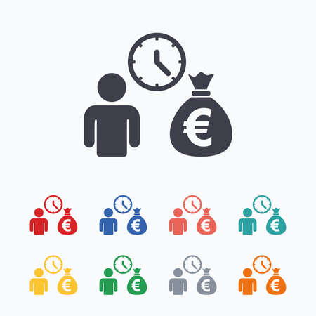 fast money: Bank loans sign icon. Get money fast symbol. Borrow money. Colored flat icons on white background.