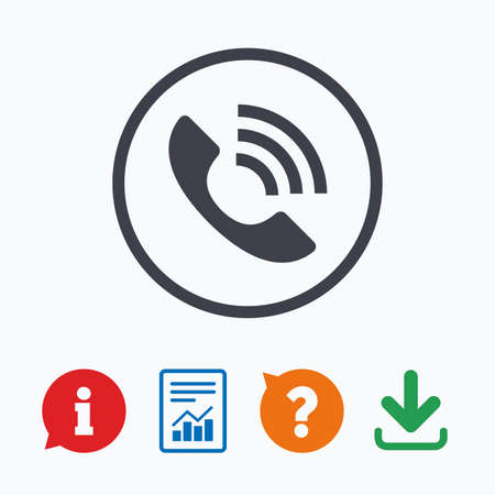 Phone sign icon. Call support center symbol. Communication technology. Information think bubble, question mark, download and report. Vector Illustration