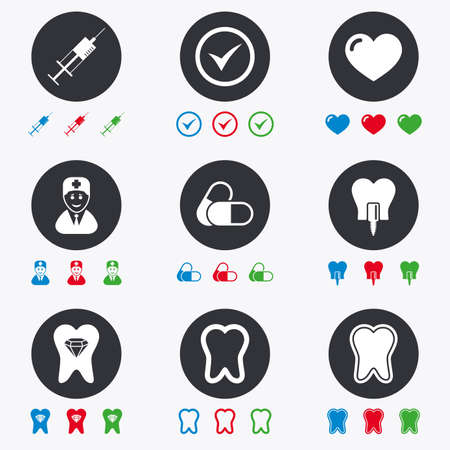 odontology: Tooth, dental care icons. Stomatology, syringe and implant signs. Healthy teeth, dentist and pills symbols. Flat circle buttons with icons.