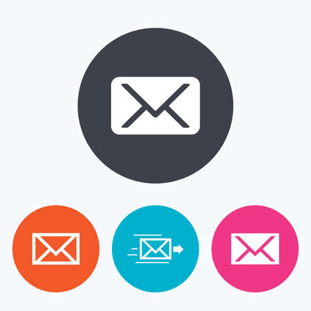 outgoing: Mail envelope icons. Message delivery symbol. Post office letter signs. Circle flat buttons with icon.