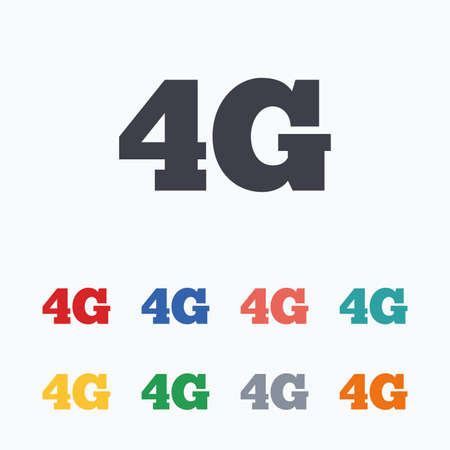 4g: 4G sign icon. Mobile telecommunications technology symbol. Colored flat icons on white background. Illustration