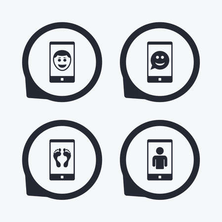 smartphone icon: Selfie smile face icon. Smartphone video call symbol. Self feet or legs photo. Flat icon pointers.