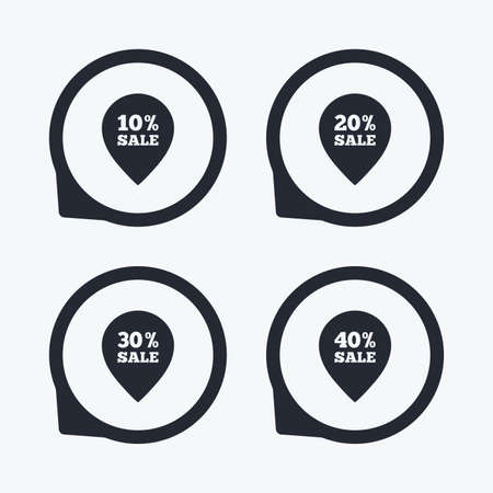 reductions: Sale pointer tag icons. Discount special offer symbols. 10%, 20%, 30% and 40% percent sale signs. Flat icon pointers.
