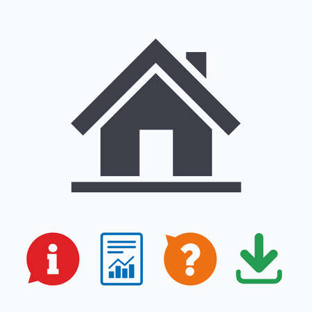 main: Home sign icon. Main page button. Navigation symbol. Information think bubble, question mark, download and report.
