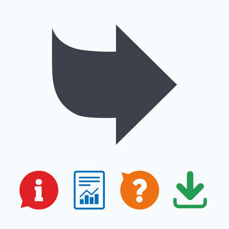 next button: Arrow sign icon. Next button. Navigation symbol. Information think bubble, question mark, download and report.