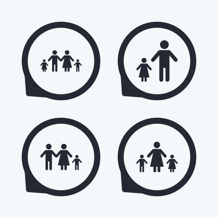 family with two children: Family with two children icon. Parents and kids symbols. One-parent family signs. Mother and father divorce. Flat icon pointers. Illustration