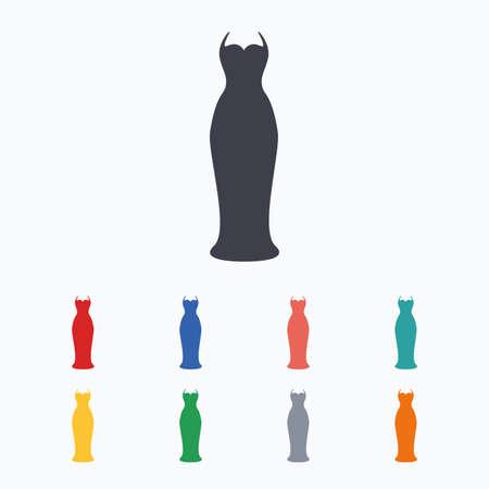 vestito Donna segno icona. simbolo sposa elegante. Colorate icone piane su sfondo bianco.