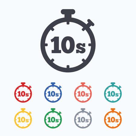 Timer 10 secondi segno icona. simbolo del cronometro. Colorate icone piane su sfondo bianco. Vettoriali