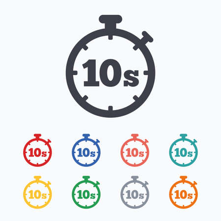 second: Timer 10 seconds sign icon. Stopwatch symbol. Colored flat icons on white background.