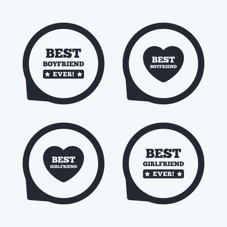 position d amour: Meilleur copain et copine ic�nes. signes d'amour de coeur. symbole Award. Flat icon pointeurs. Illustration