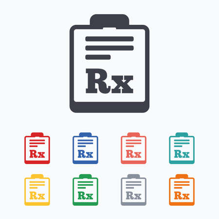 Medical prescription Rx sign icon. Pharmacy or medicine symbol. Colored flat icons on white background.