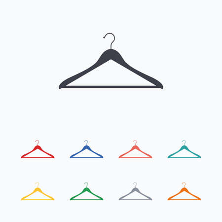cloakroom: Hanger sign icon. Cloakroom symbol. Colored flat icons on white background.