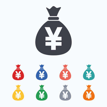 jpy: Money bag sign icon. Yen JPY currency symbol. Colored flat icons on white background. Illustration