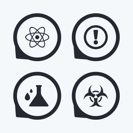 biohazard: Attention and biohazard icons. Chemistry flask sign. Atom symbol. Flat icon pointers.