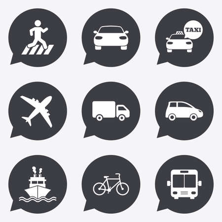 Transport Icons Car Bike Bus And Taxi Signs Shipping Delivery