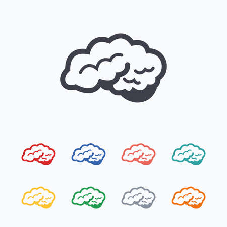 cerebellum: Brain with cerebellum sign icon. Human intelligent smart mind. Colored flat icons on white background.