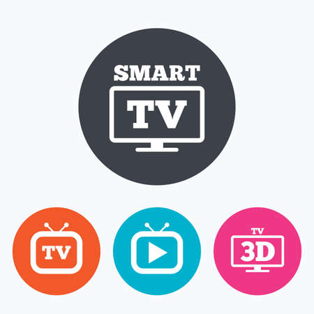3d mode: Smart 3D TV mode icon. Widescreen symbol. Retro television and TV table signs. Circle flat buttons with icon.