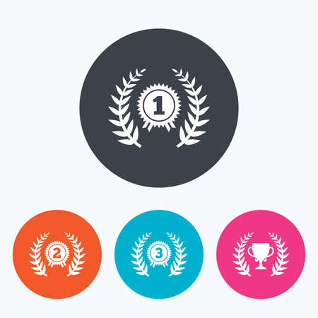 second prize: Laurel wreath award icons. Prize cup for winner signs. First, second and third place medals symbols. Circle flat buttons with icon.