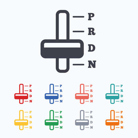 transmission: Automatic transmission sign icon. Auto car control symbol. Colored flat icons on white background.