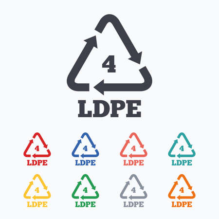 thermoplastic: Ld-pe 4 icon. Low-density polyethylene sign. Recycling symbol. Colored flat icons on white background.