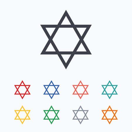 hexagram: Star of David sign icon. Symbol of Israel. Jewish hexagram symbol. Shield of David. Colored flat icons on white background.
