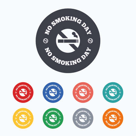 quit smoking: No smoking day sign icon. Quit smoking day symbol. Colored flat icons on white background.