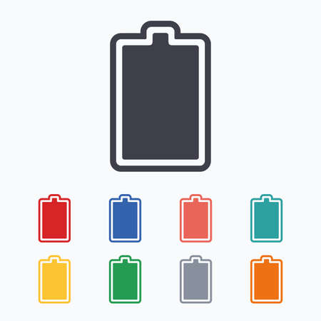 fully: Battery fully charged sign icon. Electricity symbol. Colored flat icons on white background.