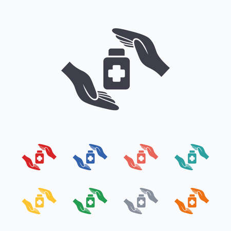 colored bottle: Medical insurance sign icon. Health insurance symbol. Drugs or pills bottle. Colored flat icons on white background.