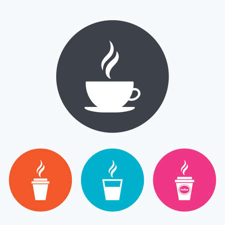 takeout: Coffee cup icon. Hot drinks glasses symbols. Take away or take-out tea beverage signs. Circle flat buttons with icon.