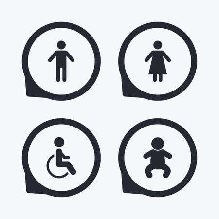 sex positions: WC toilet icons. Human male or female signs. Baby infant or toddler. Disabled handicapped invalid symbol. Flat icon pointers.