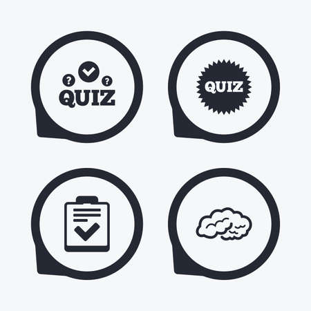 poll: Quiz icons. Human brain think. Checklist symbol. Survey poll or questionnaire feedback form. Questions and answers game sign. Flat icon pointers. Illustration