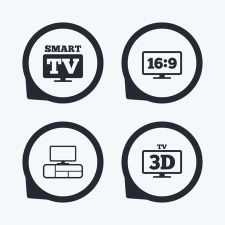 3d mode: Smart TV mode icon. Aspect ratio 16:9 widescreen symbol. 3D Television and TV table signs. Flat icon pointers. Illustration
