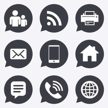 連絡先、メール アイコン。コミュニケーションのサイン。電子メール、チャット メッセージと電話のシンボル。音声バブル ポインターでフラット