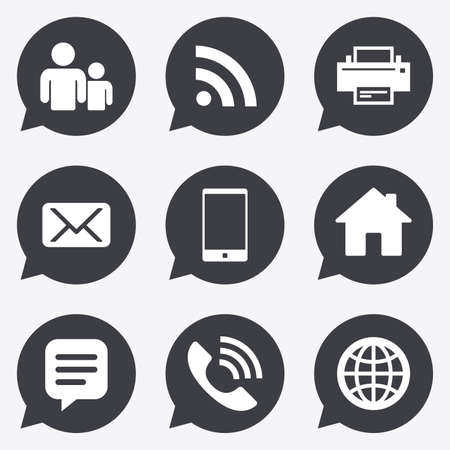 Contact, mail icons. Communication signs. E-mail, chat message and phone call symbols. Flat icons in speech bubble pointers.