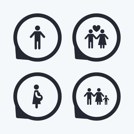 birth sign: Family lifetime icons. Couple love, pregnancy and birth of a child symbols. Human male person sign. Flat icon pointers. Illustration