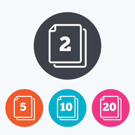 quantity: In pack sheets icons. Quantity per package symbols. 2, 5, 10 and 20 paper units in the pack signs. Circle flat buttons with icon. Illustration