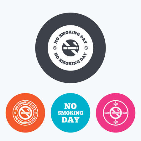 quit: No smoking day icons. Against cigarettes signs. Quit or stop smoking symbols. Circle flat buttons with icon.