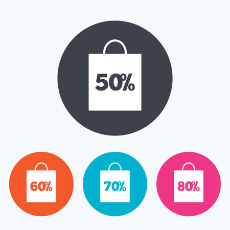 50 to 60: Sale bag tag icons. Discount special offer symbols. 50%, 60%, 70% and 80% percent discount signs. Circle flat buttons with icon. Illustration