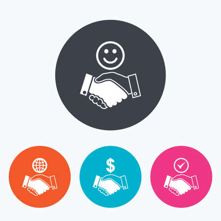 amicable: Handshake icons. World, Smile happy face and house building symbol. Dollar cash money. Amicable agreement. Circle flat buttons with icon.
