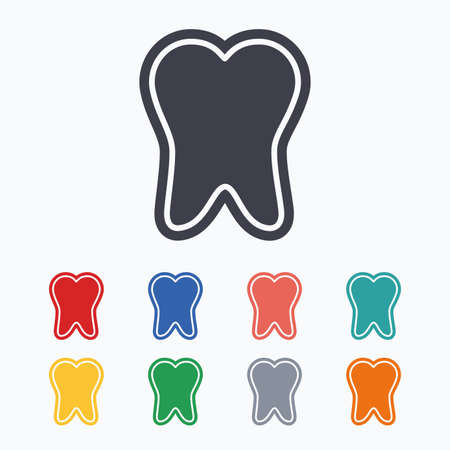 enamel: Tooth enamel protection sign icon. Dental toothpaste care symbol. Healthy teeth. Colored flat icons on white background.