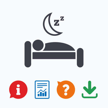 zzz: Hotel apartment sign icon. Travel rest place. Sleeper symbol. Information think bubble, question mark, download and report.